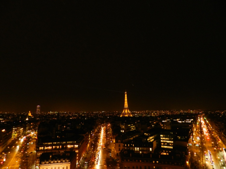 View of Eiffel Tower from Arc de Triomphe in Paris, France