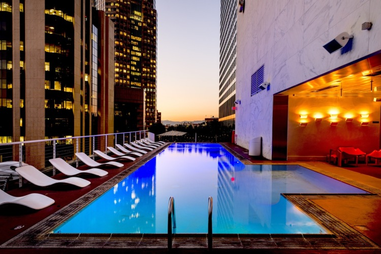 luxury hotel with rooftop pool