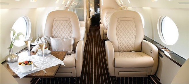 interior of beautiful private jet charter