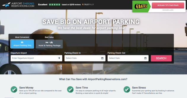 cheap airport parking. save with ebates.com