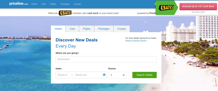 Ebates| save on travel| cashback| budget travel| priceline express deals